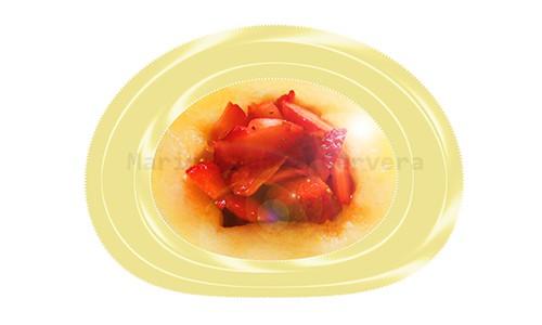 Frutillas y melón como desayuno o postre.