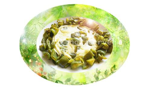 Pimientos verdes asados en tortilla.