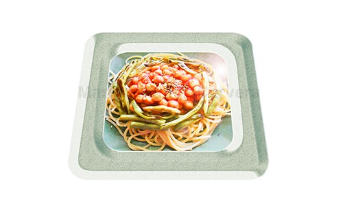 Espaguetis con garbanzos y vainita.