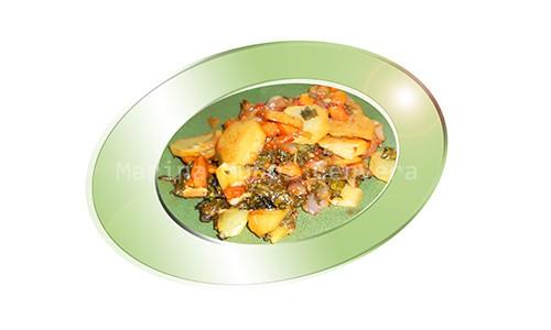 Pechuga tapada con hortalizas al horno.