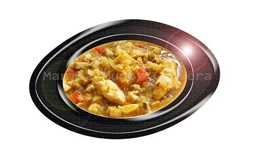 Sopa de quinoa con pollo y berenjenas.