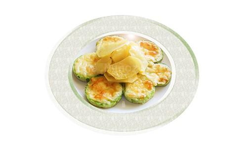 Gratinado de calabacín con patatas al horno.