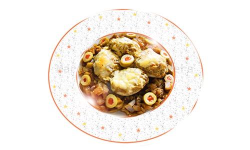 Huevos rellenos de berenjenas.