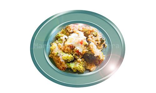 Brécol guisado con quinoa.