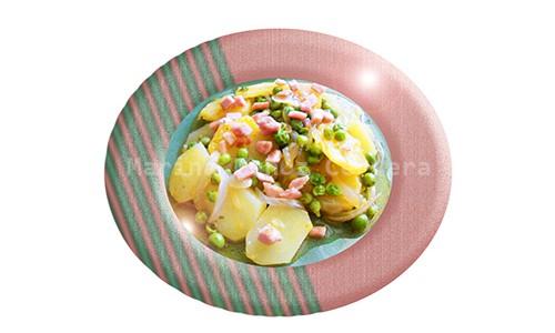 Patatas guisadas con guisantes.