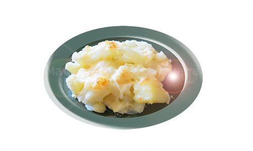 Coliflor gratinada con queso descremado.